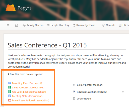 Embed Google Docs and Calendars on your intranet - Papyrs
