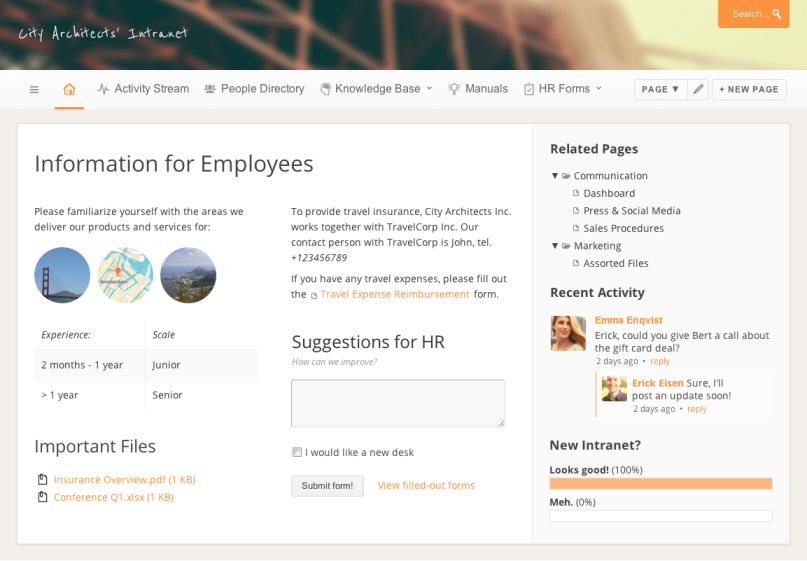 Intranet portal dashboard papyrs for Company intranet template