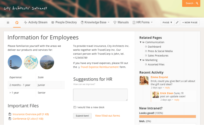 Example of Simple Company Intranet for Slack